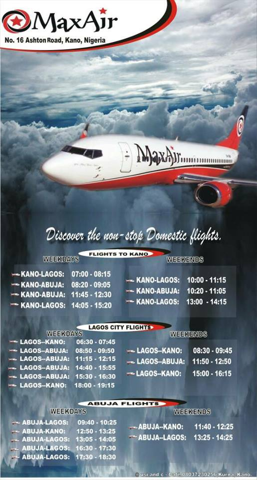 Max Air flight schedule